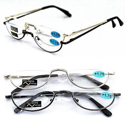 Half Rimless Vintage Spring Hinge Eyeglasses Reading Glasses Half moon Readers