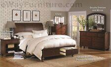 BROWN CHERRY SLEIGH STORAGE KING BED W/ DRAWERS MASTER BEDROOM FURNITURE SET