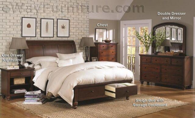 BROWN CHERRY SLEIGH STORAGE KING BED W DRAWERS MASTER BEDROOM FURNITURE SET