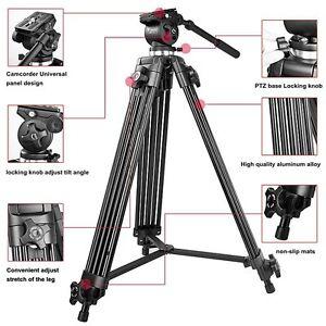 Professional-1-8m-Heavy-Duty-Video-Camera-Camcorder-Tripod-Fluid-Pan-Head-WF-717