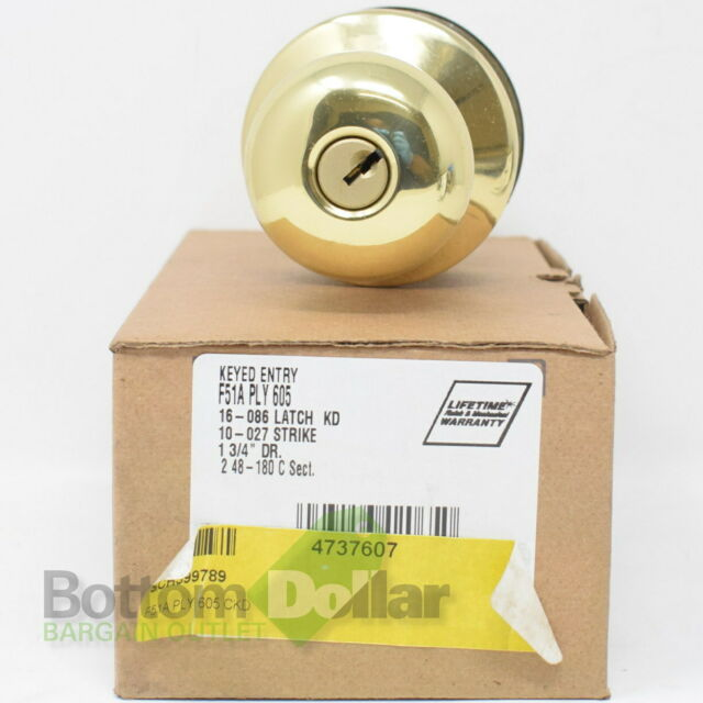 SCHLAGE F51 PLY 605 ACC PLYMOUTH DOOR KEYED ENTRANCE KNOB HANDLE BRIGHT BRASS