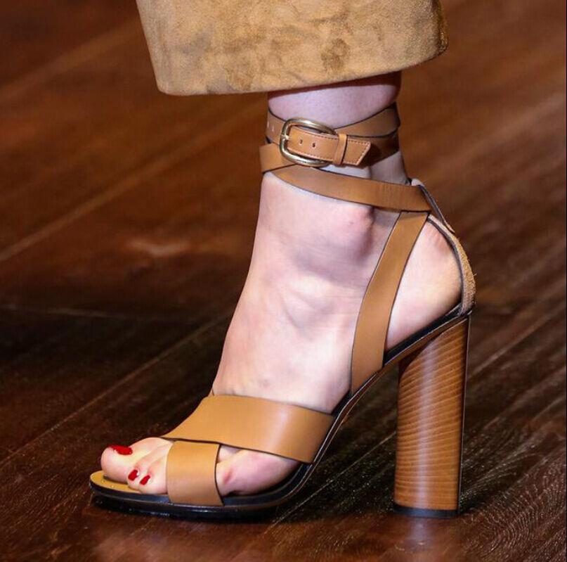 Zapatos De Tacón Alto Mujer De De De Cuero Correa De Tobillo Sandalias Dama Retro Estilo Gótico Bomba Zapatos  Sin impuestos