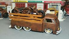 CUSTOM MADE 1963 Volkswagen Pickup Rusty Rat Rod Junker W/Motorcycle & RRs