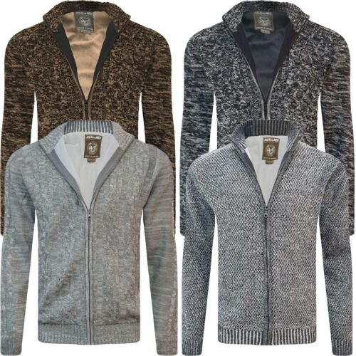 Mens Fleece Thermal Lined Textured Zip Up Cardigan Cable Knit Weave Jumper New