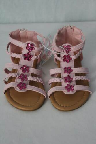 NEW Toddler Girls Gladiator Sandals Size 7 Pink Summer Strappy Flowers Shoes