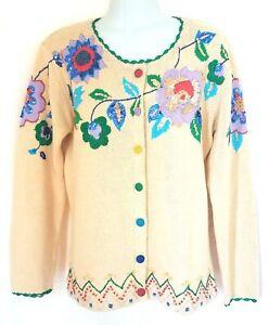 Storybook-Knits-Ivory-Vintage-Floral-Cottagecore-Folk-Art-Cardigan-Sweater-M