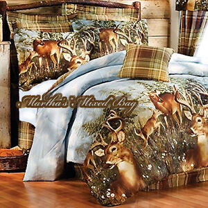 Whitetail Deer Buck Hunting Lodge Cabin Plaid Comforter