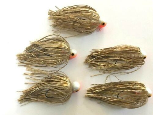 5 New Jigs w// Spider-cut Silicone Skirts 3//8oz Jighead Hooks Fishing lures Gold