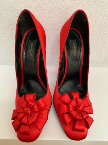 GIAMBATTISTA VALLI Red Satin Flower Heels Shoes 39