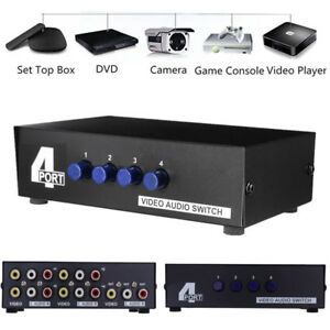 Details about AV Multi Input Output 4 Way RCA Audio Video Selector Switcher  Switch Box 4 In 1
