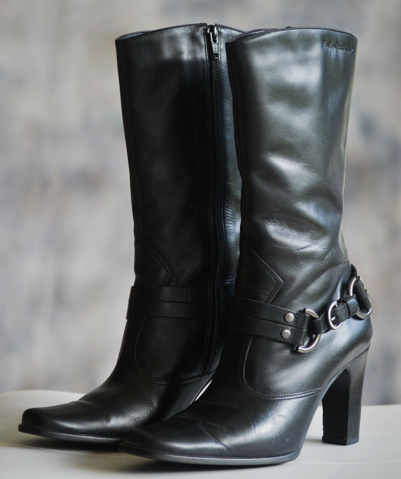 donna HARLEY DAVIDSON Motorcycle stivali Sz 7.5M nero Leather Mid Calf 3.5  Heel