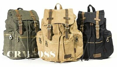MG8540 Military Style Cotton Canvas Backpack School Bag Messenger Bag,Hiking