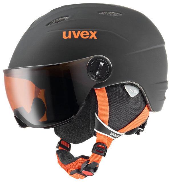UVEX junior VISOR Pro Ski - Helm  Fb. schwarz - Orange  mat Gr. 54 - 56 cm  NEU