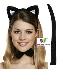 FANCY DRESS CAT ACCESSORY SET EARS BOW TIE TAIL HALLOWEEN HEAD BAND SEXY COSTUME