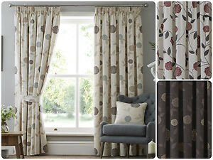 Rosemont-Pencil-Pleat-3-034-Tape-Top-Lined-Cream-Ready-Made-Curtains-Floral-Flower