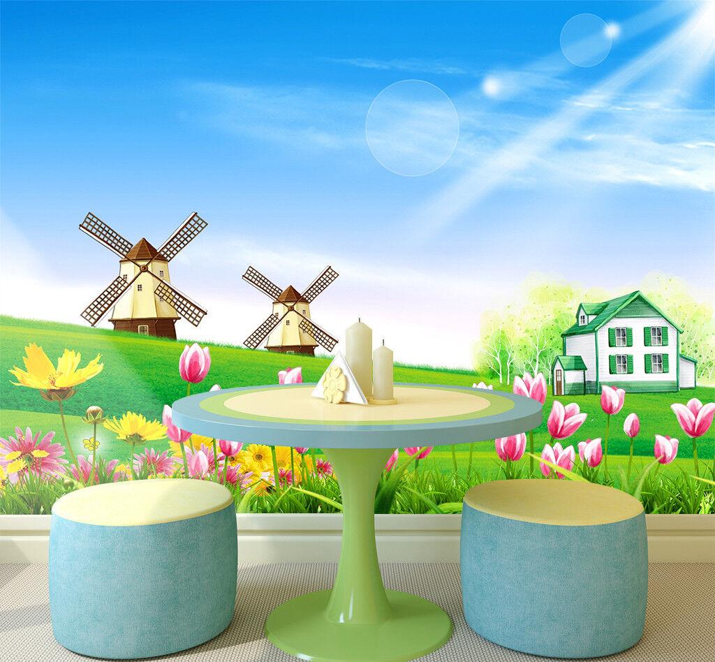 3D Sonnige Windmühle 7983 Tapete Wandgemälde Tapeten Bild Bild Bild Familie DE Jenny | Charmantes Design  | Öffnen Sie das Interesse und die Innovation Ihres Kindes, aber auch die Unschuld von Kindern, kindlich, glücklich  | Erste Gruppe von Kunden  43a2de