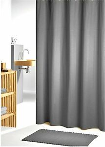 Image Is Loading Charcoal Grey Fabric Shower Curtain 2 2m Long
