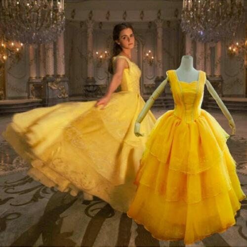 2017 Beauty and the Beast Woman Halloween Cosplay Costumes princesse robe jaune