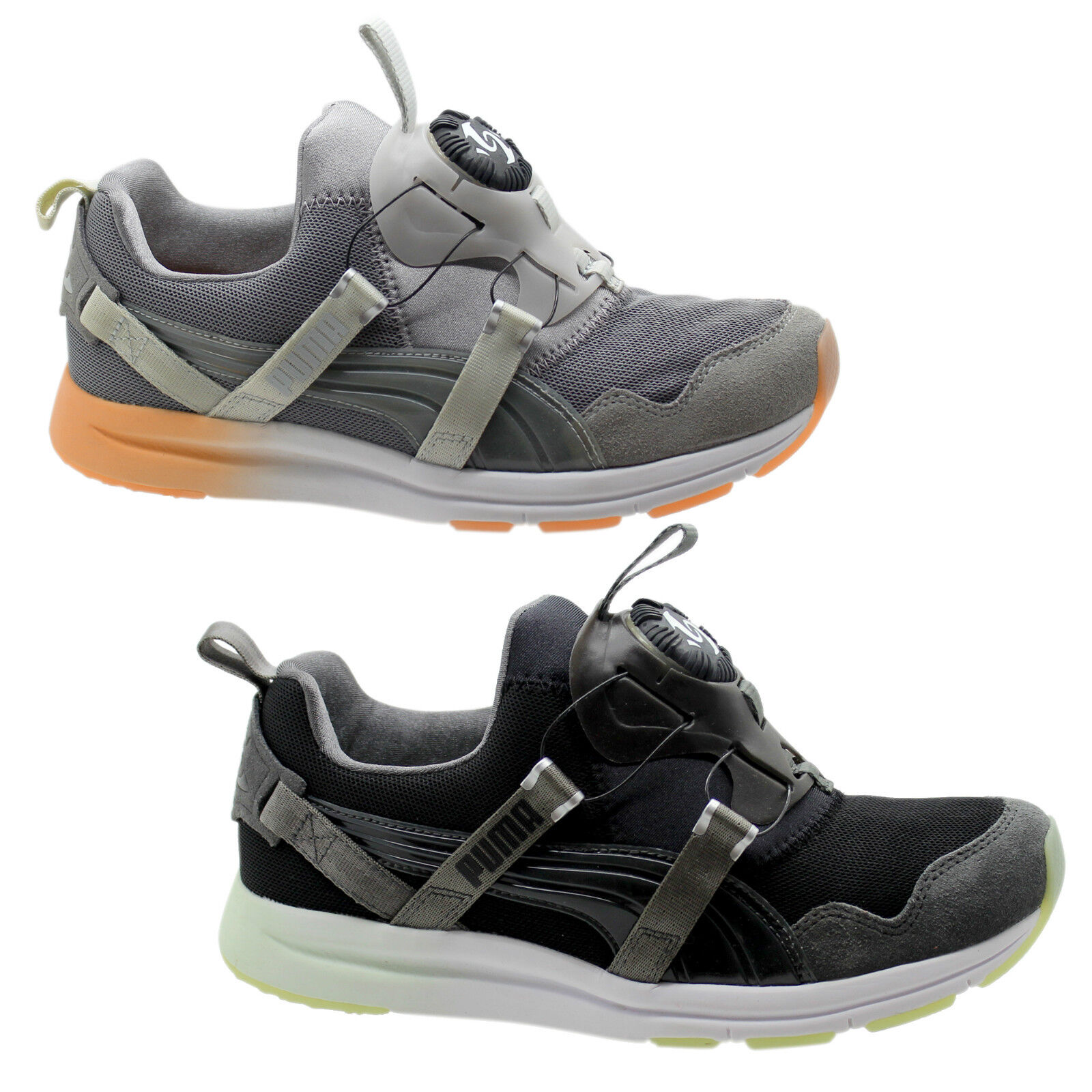Puma Disc Clear Mesh Mujer Slip On Trainers Negro Gray Mesh Clear Ante 358072 fd112e