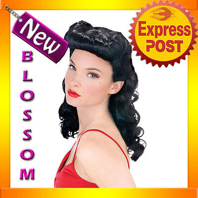 W158 Burlesque Beauty 20s 40s Pin Up Black Women Fancy Dress Costume Wig