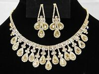 Bridal Gold W. Rhinestone Crystal Necklace And Drop Earrings Set