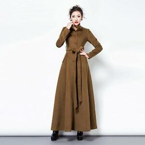 Belt Outwears Coats Stand Full Jackets Womens Long Length Maxi Collar Trench 6ndqq1ZRB