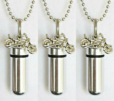 SET OF 3 Silver Motorcycle CREMATION URN Necklaces with Velvet Pouches