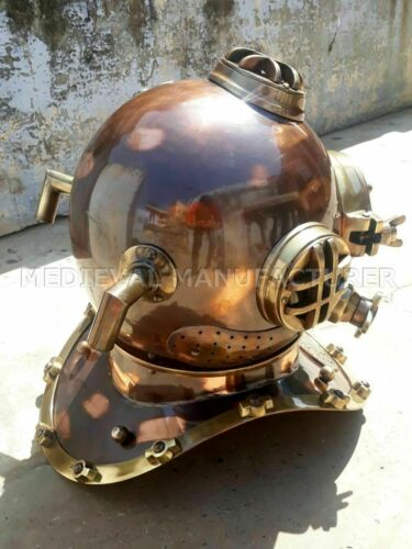 X-Mas Vintage 18 Inch Us Navy Diving Helmet Mark V Deep Sea Divers Helmet
