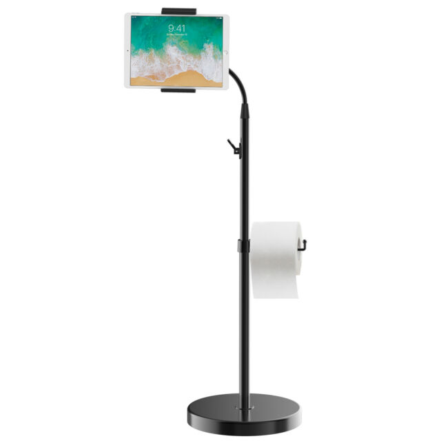 JETech Floor Stand Height-Adjustable Gooseneck with Toilet Paper Roll Holder