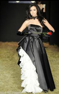 Betsey Johnson Duchess Windsor Gown Runway schwarz PInk Tulle Dress 10