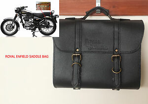 CUSTOMIZED ROYAL ENFIELD BLACK BROWN COLOR SADDLE BAG WITH FITTING STRIPS