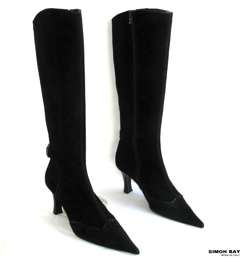 SIMON BAY - BOOTS HEELS 8 CM TIPS SHARP  POINTED LEATHER BLACK VELVET 38 - NEW