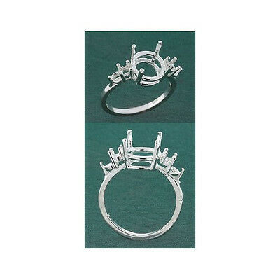 (8mm-13mm) Round w/(4) 3mm Accents Sterling Ring Setting (Ring Size 7 )