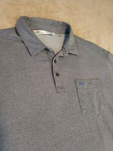 Travis-Mathew-Mens-Polo-Golf-Shirt-size-Large-Gray-Wave-with-pocket