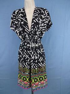 Ladies-Stretch-Dress-Funky-People-Black-amp-White-Jersey-Size-Medium