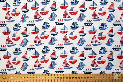 SAILING BOATS ON WHITE BACKGROUND - PRINTED POLY COTTON FABRIC