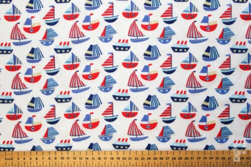SAILING BOATS ON WHITE BACKGROUND PRINTED POLY COTTON FABRIC