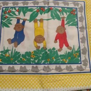 Baby Pillow Quilt Top Cotton Fabric Panel Jungle Monkeys