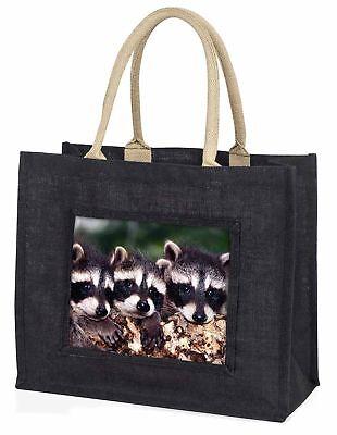 süßes Baby Waschbären große schwarze Einkaufstasche Weihnachten Geschenkidee,