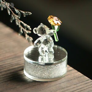 Clear-Crystal-Bear-Paperweight-Animal-Figurine-With-Rhinestone-Base-Table-Decor