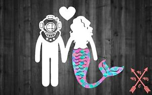 5 Mermaid Diver Couple Family Vinyl Decal Sticker Laptop Yeti Car Cup Truck Ebay