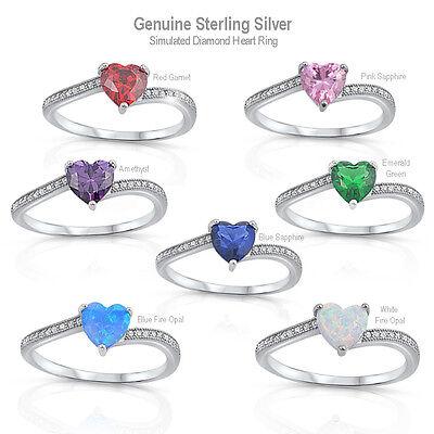 Heart Ring genuie Argent Sterling 925 Améthyste clair CZ face hauteur 6 mm taille 8