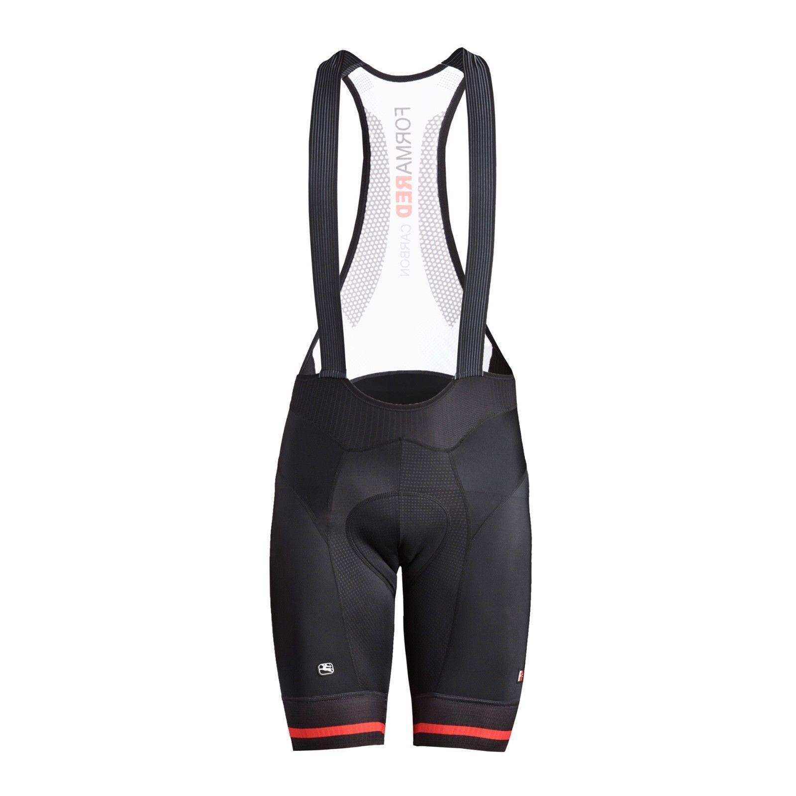 Giordana ciclismo Baberos Pantalón Corto Fr-PRO   Para Hombre-Negro C rojo   Nuevo