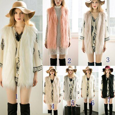 Women Faux Fur Waistcoat Jacket Coat Sleeveless Outwear Short Fashion Vest Gilet