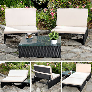sitzgarnitur 2 sessel tisch gartenset gartenm bel lounge poly rattan schwarz ebay. Black Bedroom Furniture Sets. Home Design Ideas