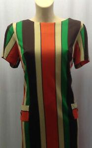 50 S Original Vibrant Bright Bold à Rayures Robe Avec Bronzé Bouton Manche Long-afficher Le Titre D'origine