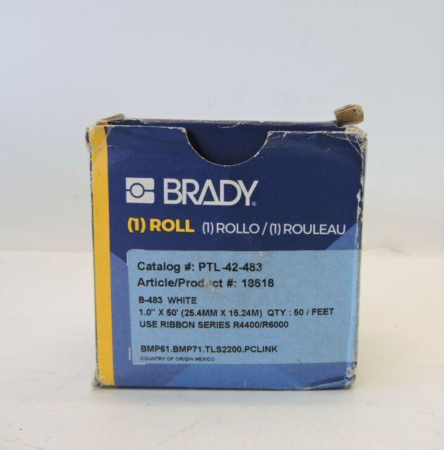 "1.3/"" X 50/' Brady PTL-100-483 TLS 2200 TLS PC Link General Polyester Labels"