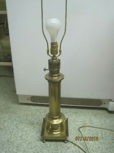 Details About Vintage Hong Kong Solid Brass Table Lamp Orient Express Style Ball Feet