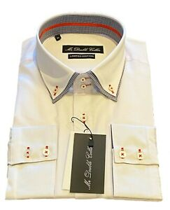 MrDoubleCollar White with Black Check DoubleCollar Long-sleeved Shirt UK Stock