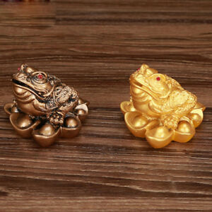 2pcs-Traditional-Money-Lucky-Wealth-Three-Legged-Frog-Toad-5cm-Golden-Copper